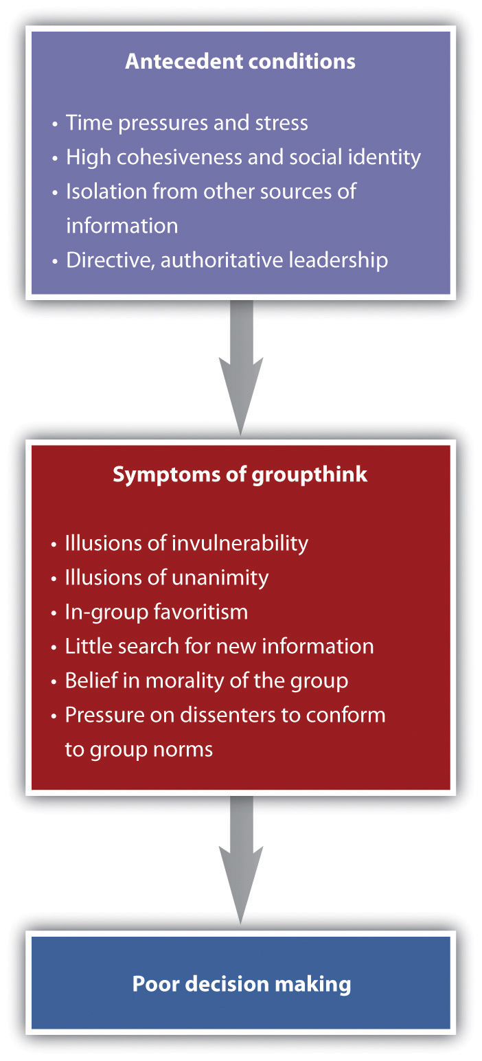 Causes and Outcomes of Groupthink. Long description available.