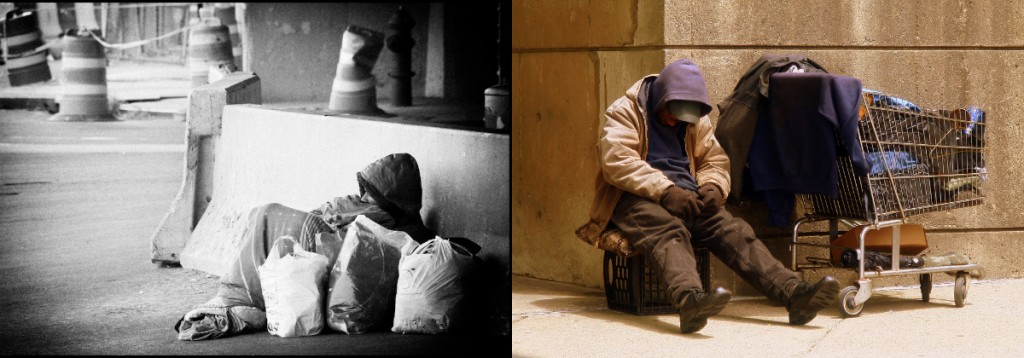Homless people sleeping on the street