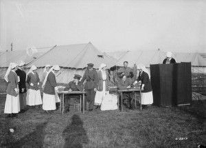 Only women serving in the armed forces during WWI, including nurses, were allowed to vote in federal elections. It was not until 1919 that the rest of women in Canada could vote federally. (Source: William Rider-Rider, Library and Archives Canada, # PA-002279 http://commons.wikimedia.org/wiki/File:Canadian_nurses_voting_1917.jpg