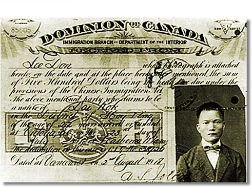 A Chinese head tax receipt for $500 issued on August 2, 1918