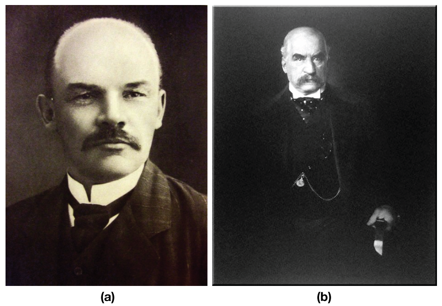 In figure (a), a photograph of Vladimir Ilyich Lenin is shown; In figure (b), a photograph of J.P. Morgan is shown.