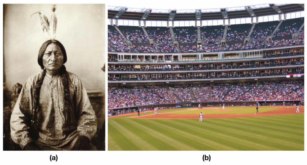 On the left is a photo of an Indian chief. On the right is a baseball stadium.