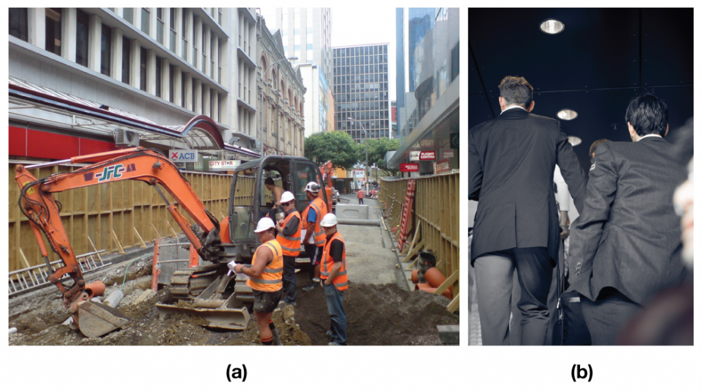 Figure (a) shows a group of construction workers; Figure (b) shows a group of businessmen.