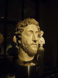 The head of a statue with a blank expression.