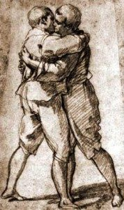 A drawing of two men kissing