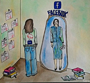 People can use Facebook to reflects an ideal image of themselves. Long description available