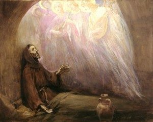 A man in a long cloak sits on the floor looking up at surrounding angels.