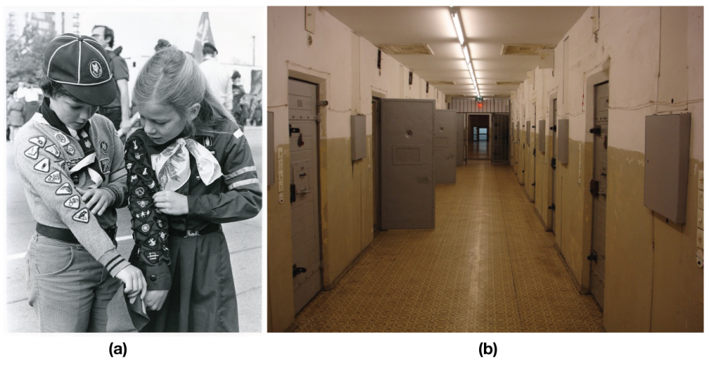 Figure (A) shows two girl guides; Figure (b) shows the hallway of a correctional facility.