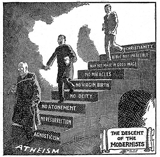 A fundamentalist Christian cartoon. Long description available.