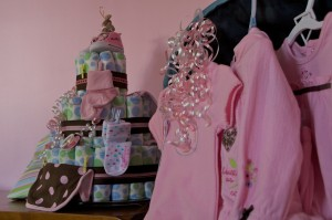 A collections of small pink clothes.