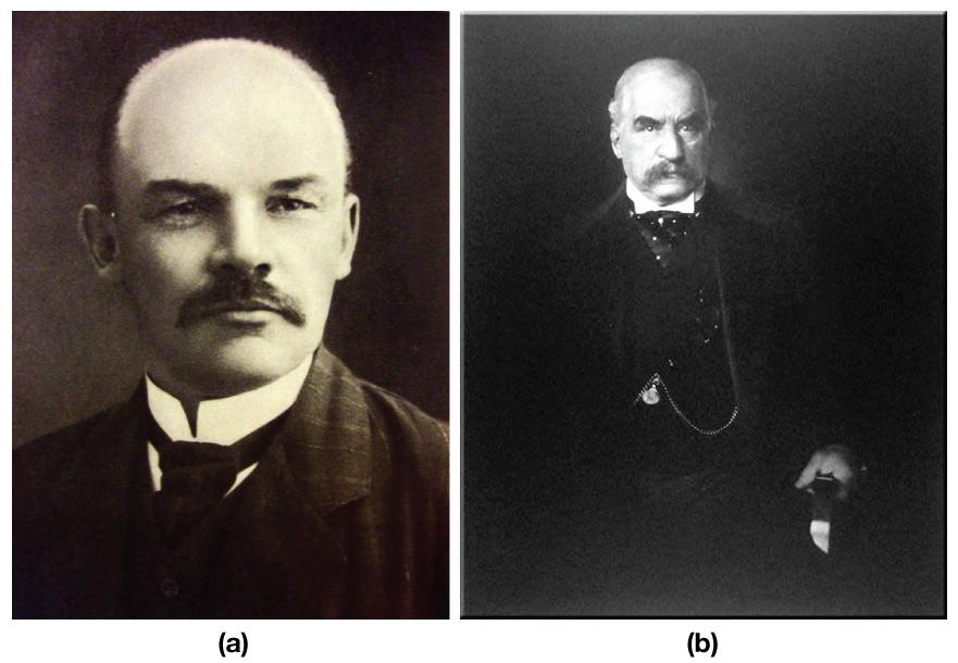Image (a) Vladimir Ilyich Lenin. Image (b) J.P. Morgan.