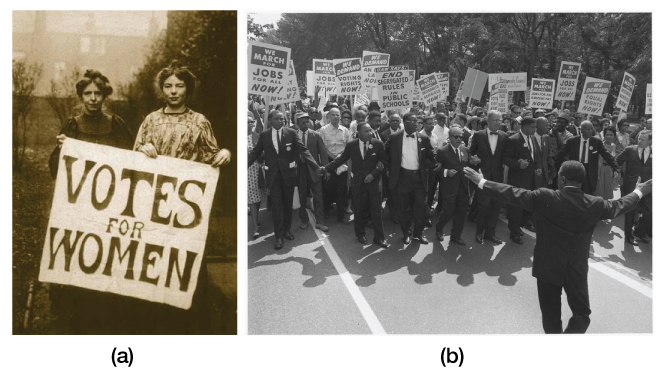 (A) Women advocate for voting rights. (B) African Americans march for civil rights