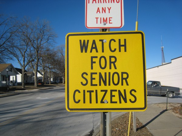 "A sign reading, ""Watch for senior citizens."""