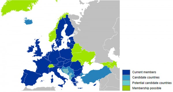 Members of the E U, candidate countries, potential candidate countries, and membership possible.