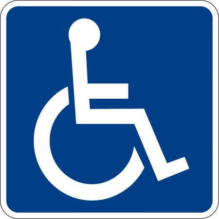 A blue sign of a stick person in a wheelchair.