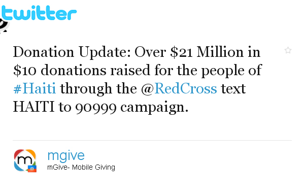 A twitter post encouraging people to text to donate to the people of Haiti through the Red Cross.