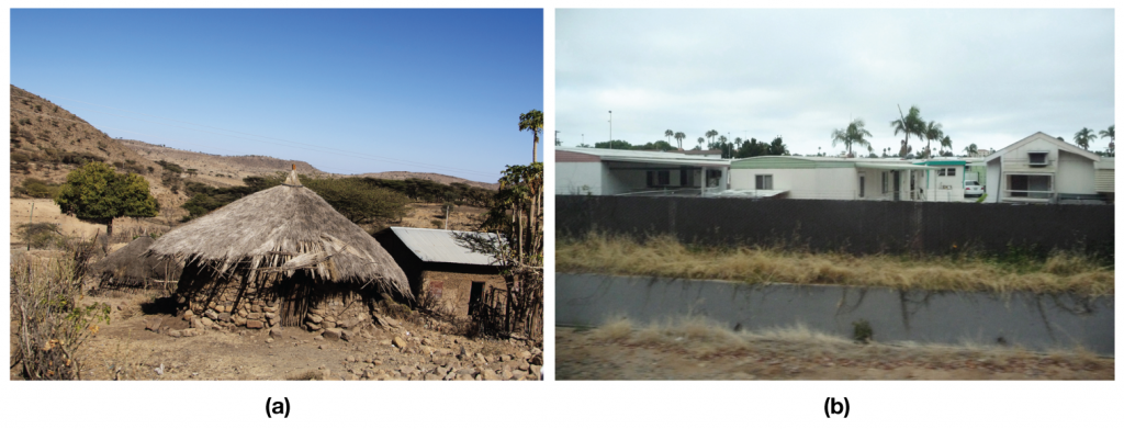 Figure (a) shows a grass hut; Figure (b) is of a mobile home park.