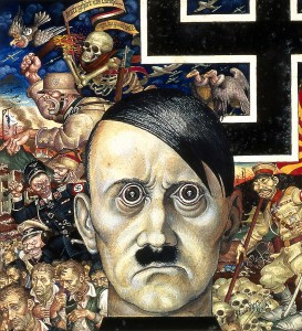 A painting of Adolf Hitler and a swastika with images of violence, anger, and death.