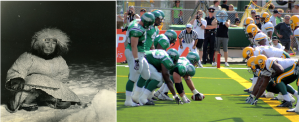 The left image shows an Inuit person. The right image shows two football teams faceing off.