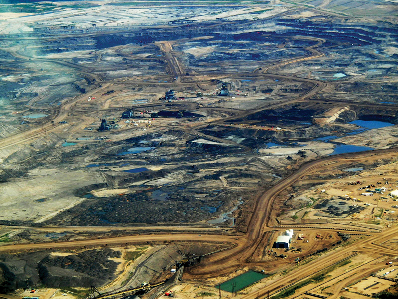 Ariel view of the Albertan tar sands