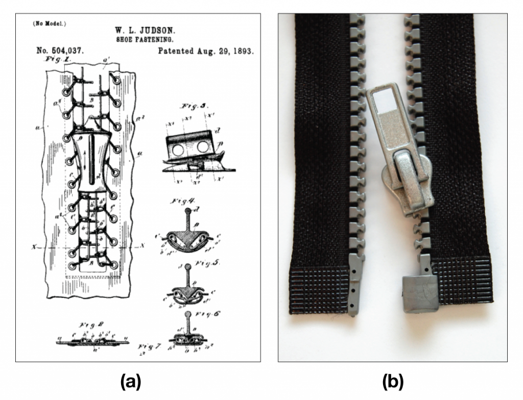 Figure (a) shows drawings of a patent for the zipper; Figure (b) shows a modern zipper.