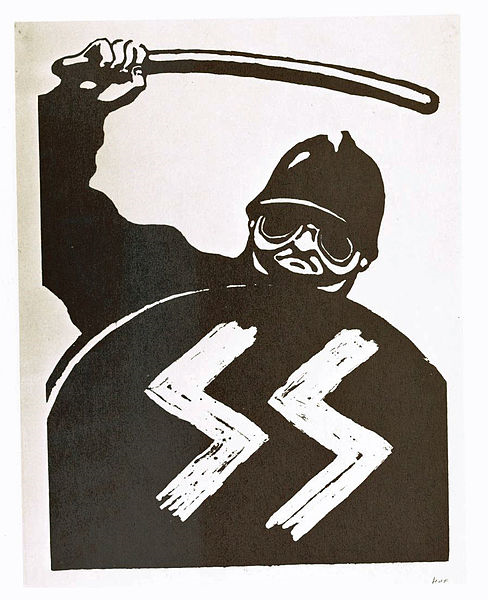 Protest poster of a policeman using force