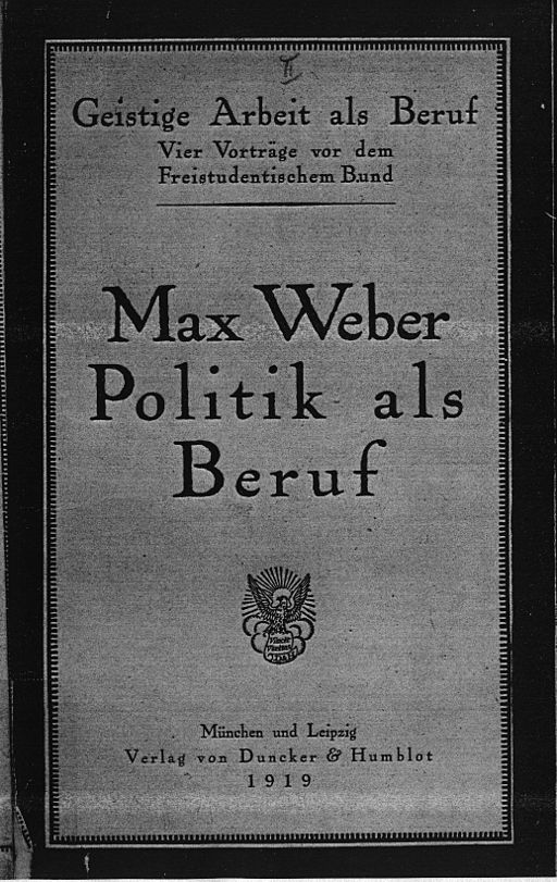 "The cover of Max Weber's book ""Politics as a Vocation"""