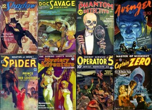 Various pulp fiction books.