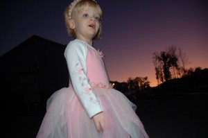 "A young girl wearing a pink ""princess"" dress."