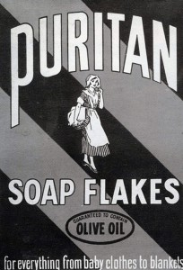 "An advertisement that says, ""Puritan Soap Flakes, for everything from baby clothes to blankets."""