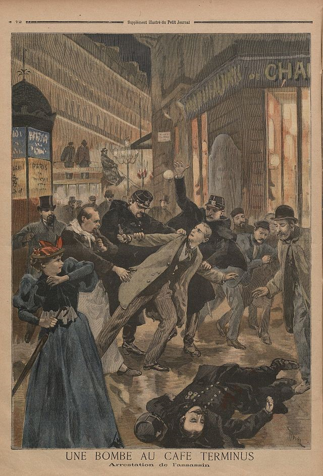 Painting depicting police apprehending a man who bombed Paris' Café Terminus