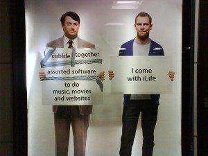 A Mac versus PC ad campaign. Long description available