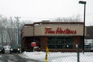 A Tim Hortons store in winter