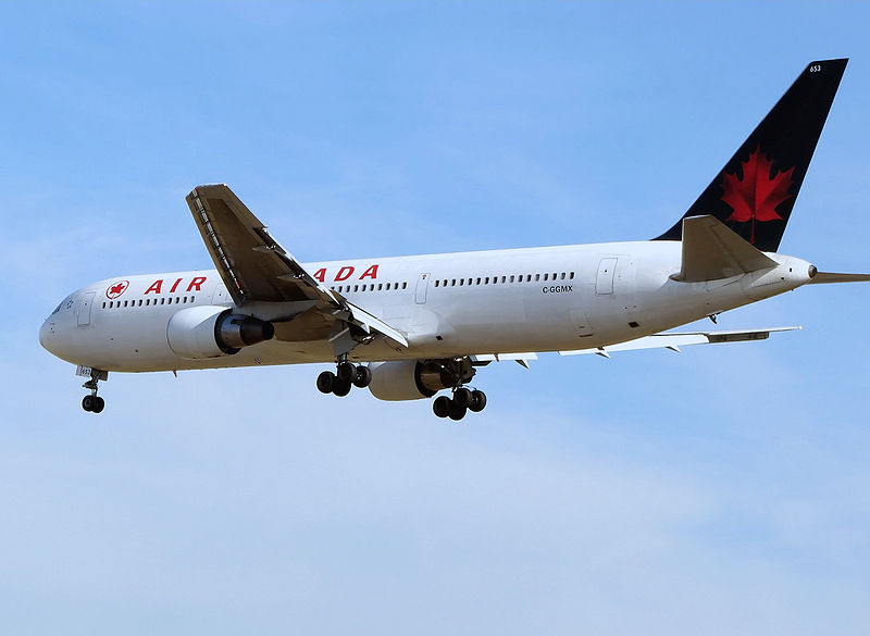 "The Gimli Glider is the Boeing 767 that ran out of fuel and glided to safety at Gimli Airport. The aircraft ran out of fuel because of confusion over the units used to express the amount of fuel. ""Aircanada.b767′′ is in the the public domain."