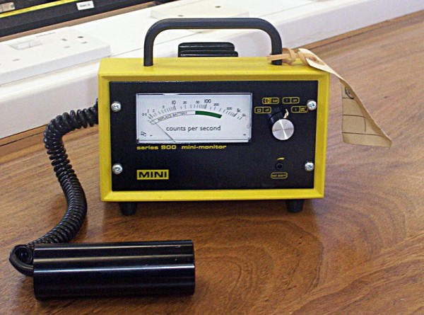 "A Geiger counter is a common instrument used to detect radioactivity. Source: ""Geiger counter"" by Boffy B is licensed under the Creative Commons Attribution-Share Alike 3.0 Unported license."