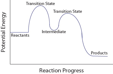 Figure 17.6.1. Multistep reaction potential energy diagram.