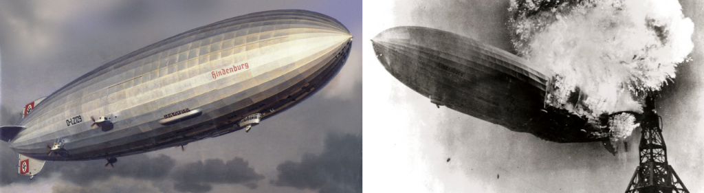 "The German airship Hindenburg (left) was one of the largest airships ever built. However, it was filled with hydrogen gas and exploded in Lakehurst, New Jersey, at the end of a transatlantic voyage in May 1937 (right). Source: ""Hindenburg"" by James Vaughan is licensed under the Creative Commons Attribution-NonCommercial-ShareAlike 2.0 Generic. ""Hindenburg burning"" by Gus Pasquerella is in the public domain."