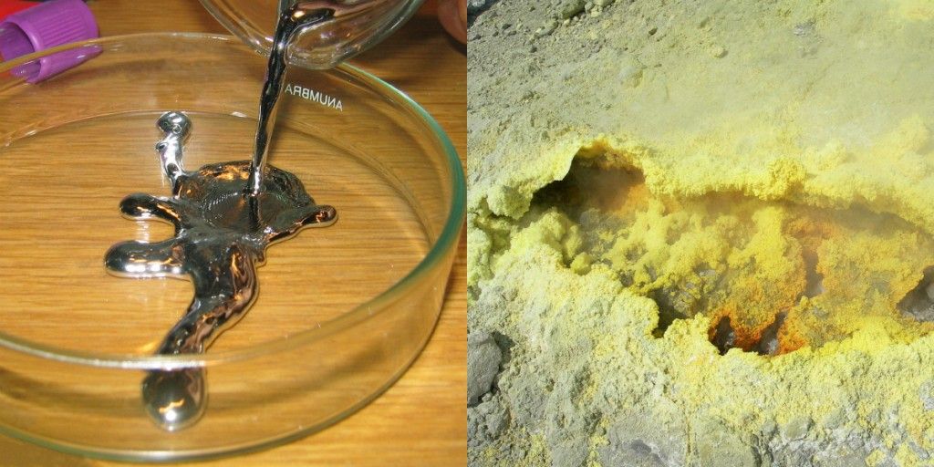 "On the left is some elemental mercury, the only metal that exists as a liquid at room temperature. It has all the other expected properties of a metal. On the right, elemental sulfur is a yellow nonmetal that usually is found as a powder. ""Pouring liquid mercury bionerd"" is licensed under the Creative CommonsAttribution 3.0 Unported; ""Sulphur-vulcano"" by Heidi Soosalu is licensed under the Creative Commons Attribution-Share Alike 3.0 Unported."