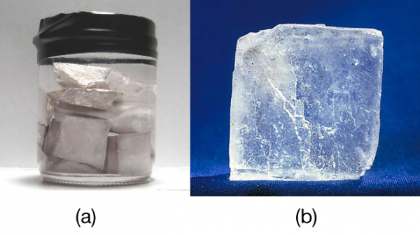 "a) Sodium metal is silvery, soft, and opaque and conducts electricity and heat well. (b) NaCl is transparent, hard, and colorless and does not conduct electricity or heat well in the solid state. These two substances illustrate the range of properties that solids can have. Source: ""Sodium"" by Mrs Pugliano is licensed under the Creative Commons Attribution-ShareAlike 2.0 Generic; ""Halite(Salt)"" is in the public domain;"