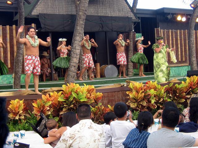 Figure 14.5. Dancers at Germaine's Luau near Honolulu. By M Disney, https://www.flickr.com/photos/adamtheo/5466294789/in/photolist-86L7mG-72rsmt-9k3aVk-9k6dPA-9k3aZX-9k3bZT-9k6eWE-9k6f9N-9k6eHy-9k6feu-86GUJD-93A4i-9k6day-9k39aK-9k3brp-9k38XT-9k393P-5vF3R1-7tvJr2-8fzfCW-8fvZg6-5GSjxB-5GS6hc-5GWrGG-5GSdm4-5GWGVj-5GWgPG-5GS36i-5GRZAR-aCXUCU-2Ys3UK-bDfBjr-677gvA-9HyYc1-6732Y6-qCmDk-7Dz4Vb