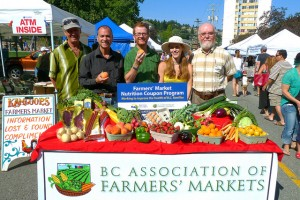 "Fresh fruits and vegetables and a sign saying, ""BC Association of Farmers' Markets"""