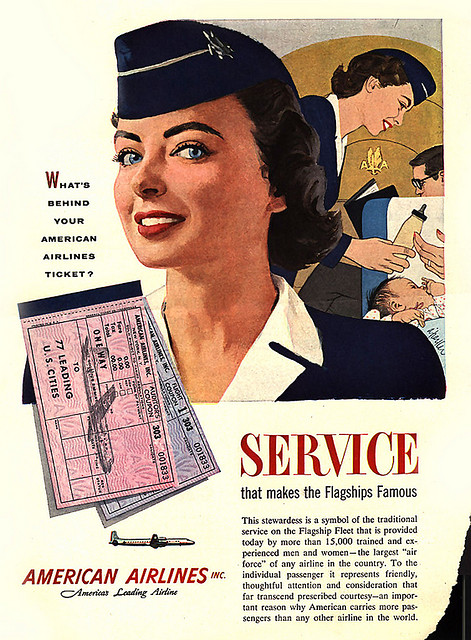 "A drawing of a smiling flight attendent that says, ""Service that makes the flagships famous."""