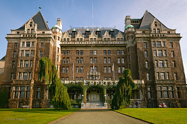 The Empress Hotel is a large, old-style hotel.