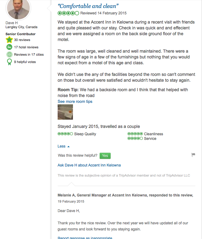 Customer hotel review. Long description available.