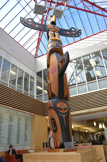 A First Nations totem pole.