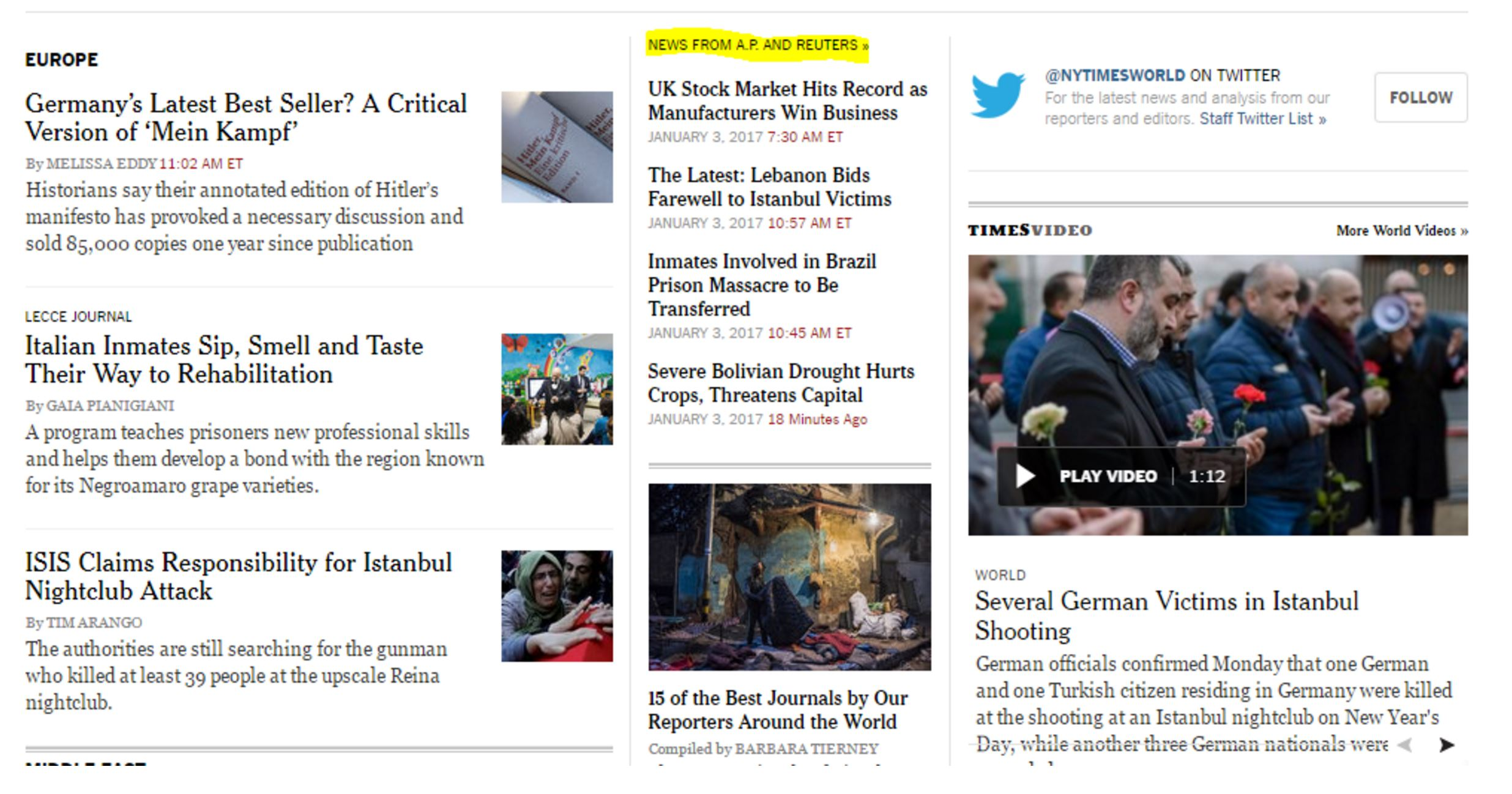 """A screenshot of a New York Times webpage with many items on it. In the middle column of items, a small \""""News from AP and Reuters\"""" tops the column."""