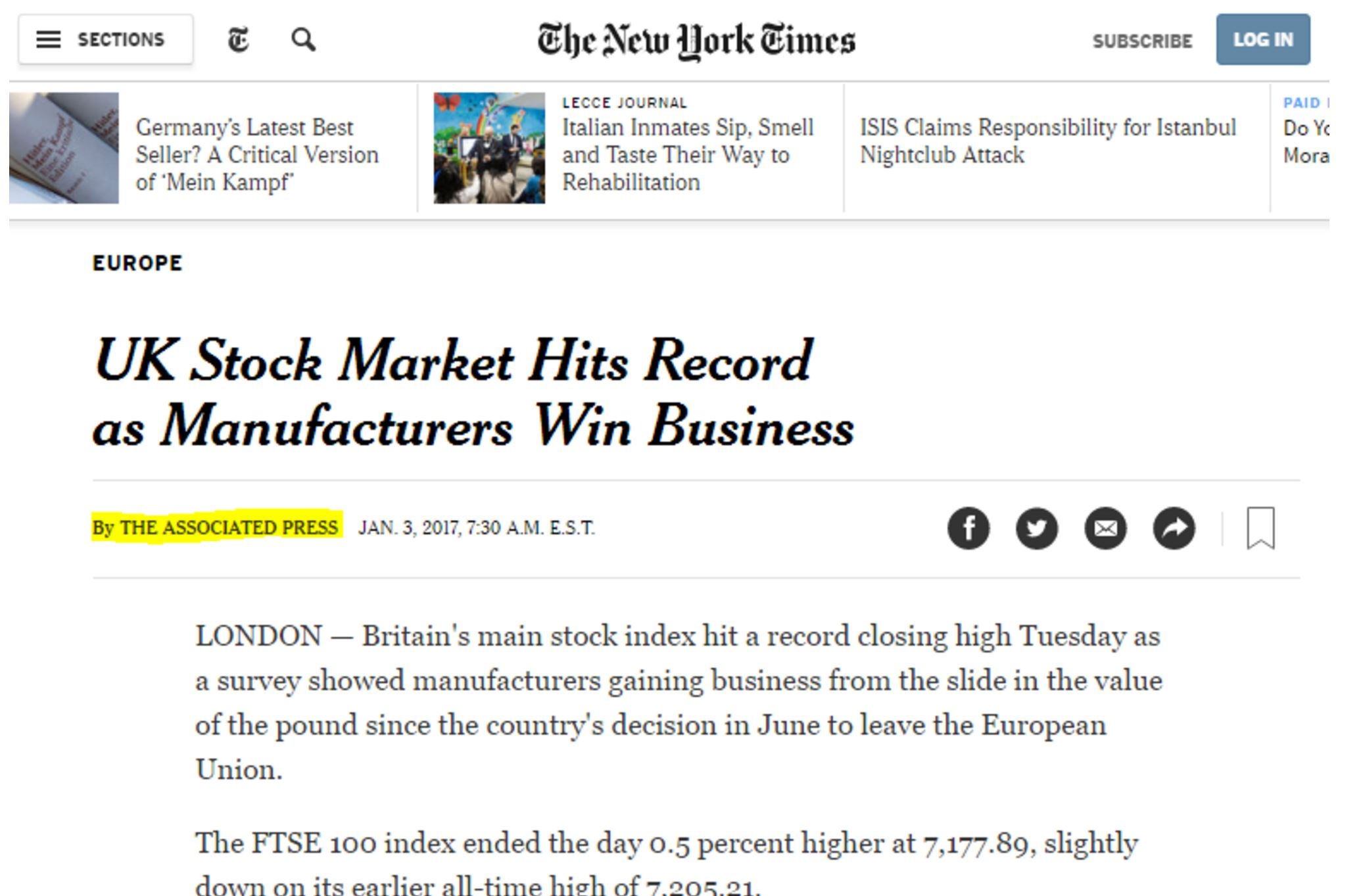 """New York Times article with headline \""""UK Stock Market Hits Record as Manufacturers Win Business\"""". Where a reporters name might usually appear under the headline is a small \""""by the Associated Press\"""""""