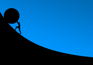 Drawing of a person pushing a huge round object up a steep slope.