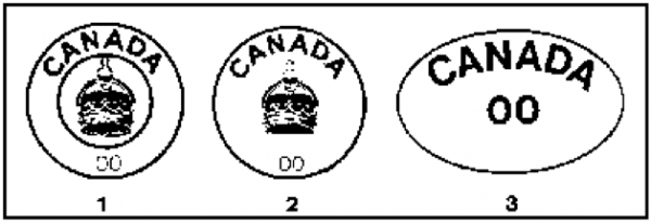Figure 13 Meat inspection stamps (CFIA)