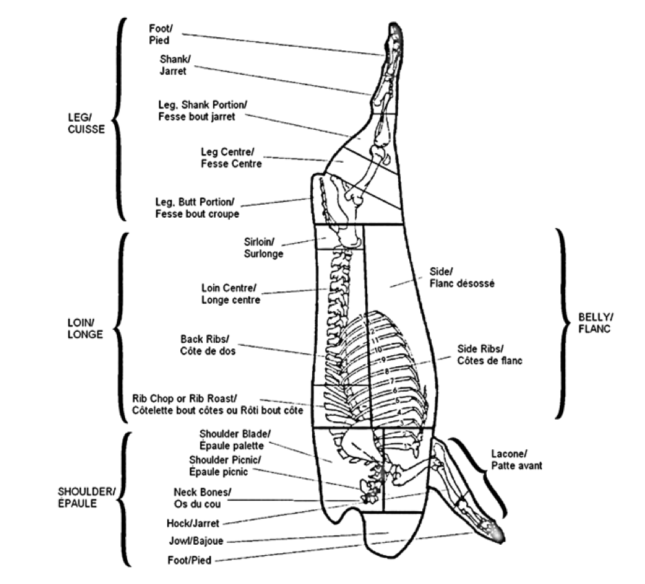 Meat Cutting And Processing For Food Service Diagram Showing All Of The Muscles In A Chicken Wing Figure 23 Pork Carcass Primal Sub Retail Cuts